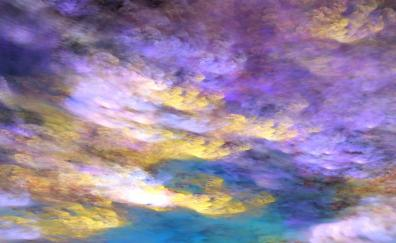 Clouds, colorful, purple yellow, art