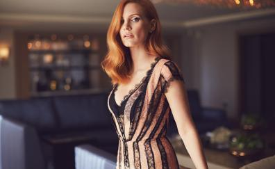 Jessica Chastain, red head, celebrity, 2017