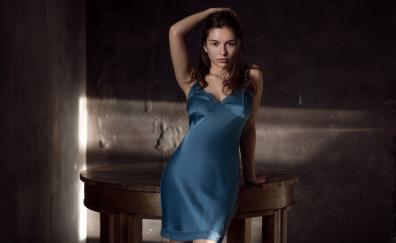Night wear girl model arms up