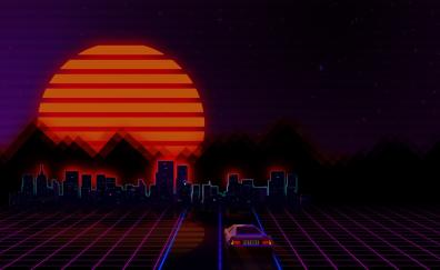 Retro city car abstract