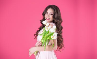 Woman model, smile, tulip bouquet, pretty
