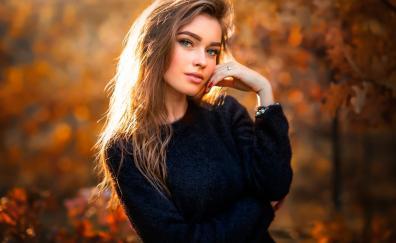 Outdoor blonde woman autumn