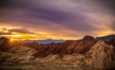 Rocky mountains, nature, sunset
