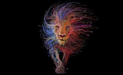Digital art cables lion colorful