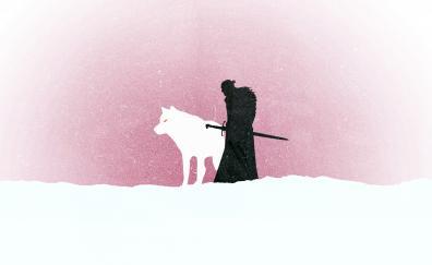 Jon snow, wolf, game of thrones, tv series, minimal
