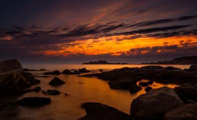 Coast sunset sea clouds sky