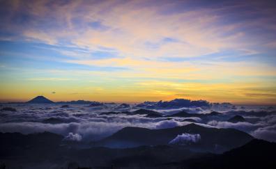 Clouds, horizon, mountains, sky, nature