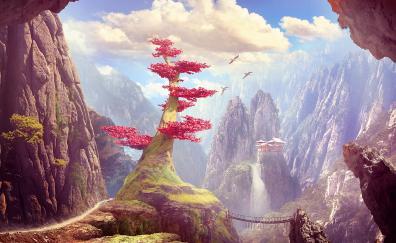 Blossom, red tree, hills, fantasy, art