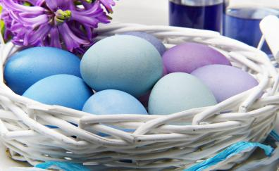 Easter eggs colored nest
