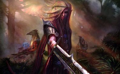 Woman warrior fantasy sword art
