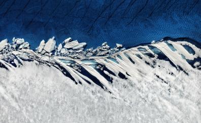 Glacier snowy landscape aerial view nature