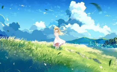 Landscape blonde anime girl cute