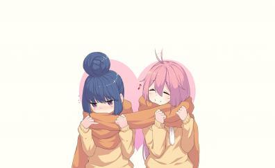 Anime girls nadeshiko kagamihara rin shima scarf