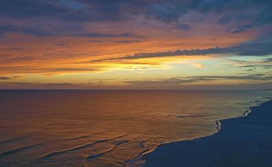 Beach sunset calm sea sky