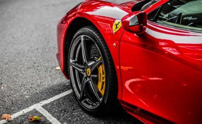 Red supercar ferrari wheel 4k