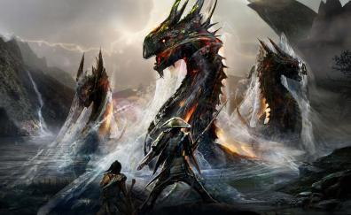Dragons and ninjas, warriors, art, fantasy