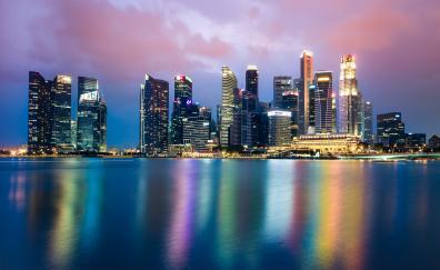 Singapore, cityscape, skyline, reflections, night