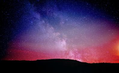Night, milky way, sky, constellations, colorful