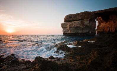 Arch, rocks, coast, sea, sea waves