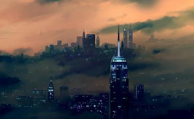 Night new york city buildings art