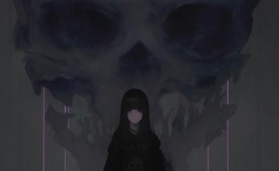 Anime girl, purple eyes, dark, skull
