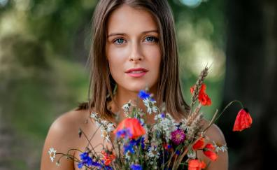 Beautiful eyes, girl model, flowers