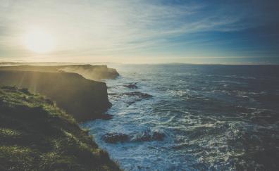 Sunrise coast nature sea waves