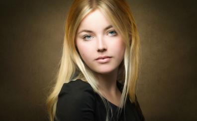 Blonde beautifl woman looking straight
