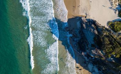 Coast, aerial view, sea waves, seashore