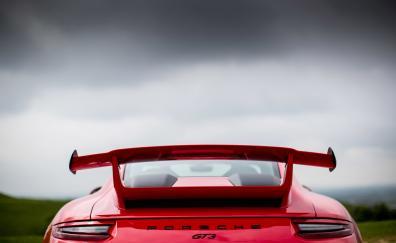 2018 porsche 911 gt3 rear view red car