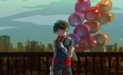 Izuku Midoriya with balloons, artwork