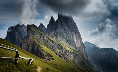Mountains, landscape, cliff, clouds, nature