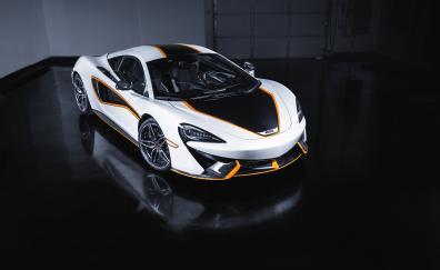 Maclaren, white sports car, front