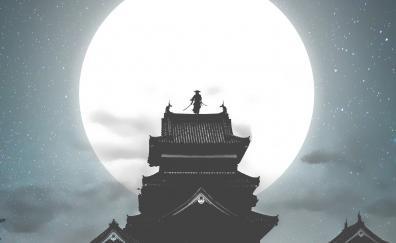 Moon, house, samurai, warrior, night, art