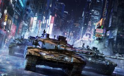 Tanks city night buildings