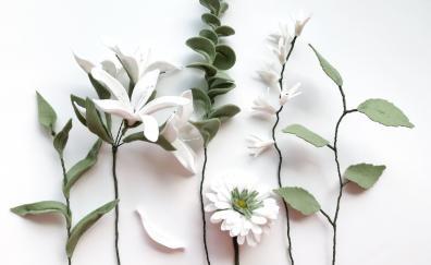 White flowers, green leaves, fresh