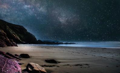 Beach starry night nature