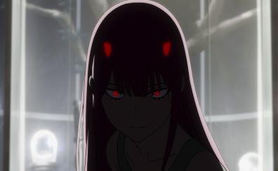Dark, red eyes, zero two, anime girl