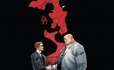 Daredevil, kingpin, handsake, comics