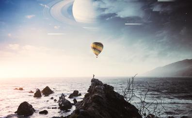 Coast, hot air balloon, silhouette, art
