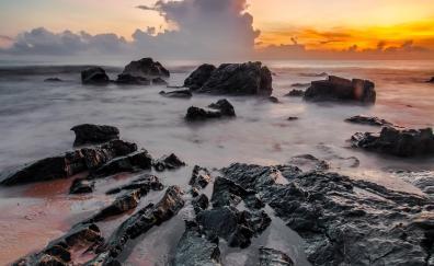 Water flow, coast, nature, sunset, clouds, rocks