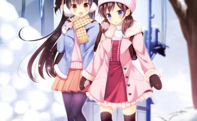 Winter outdoor girls anime friends