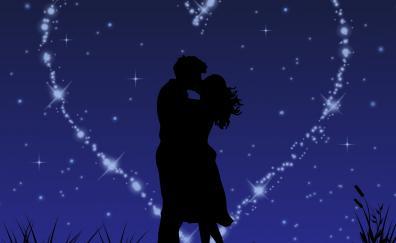 Couple love kiss stars glitter digital art