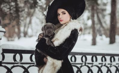Black clothing girl model dog