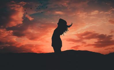 Sunset, girl, freedom, outdoor, relaxed, silhouette