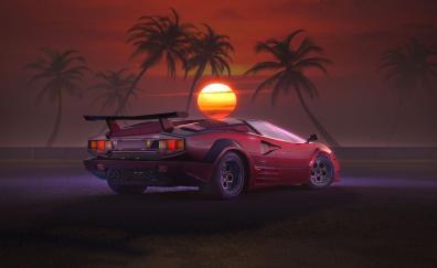 Retrowave, OutDrive, car, sunset, artwork