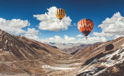Hot air balloon ride in leh mountains 4k