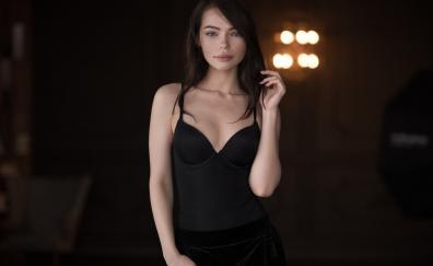 Black clothing beautiful woman model