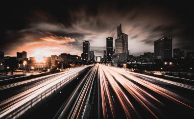 City night traffic lights buildings