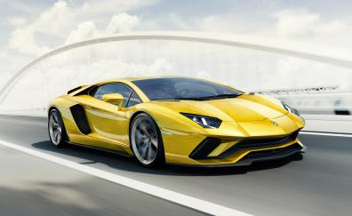 Yellow supercar lamborghini aventador